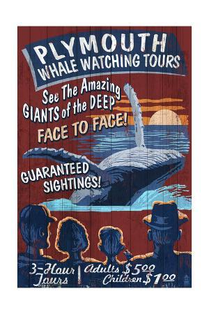 Plymouth, Massachusetts - Blue Whale Watching Vintage Sign