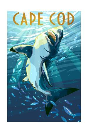 Cape Cod, Massachusetts - Stylized Shark