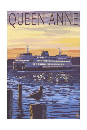 Queen Anne, Washington - Ferry and Sunset