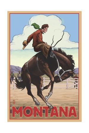 Montana - Cowboy and Bronco Scene