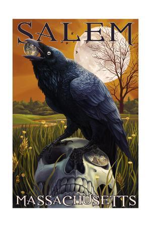 Salem, Massachusetts - Raven and Skull