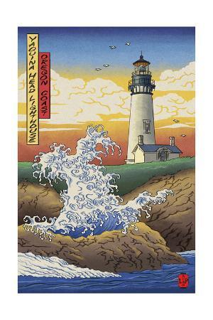 Oregon Coast - Yaquina Head Lighthouse - Woodblock Print