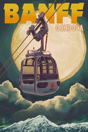 Banff, Canada - Gondola and Full Moon