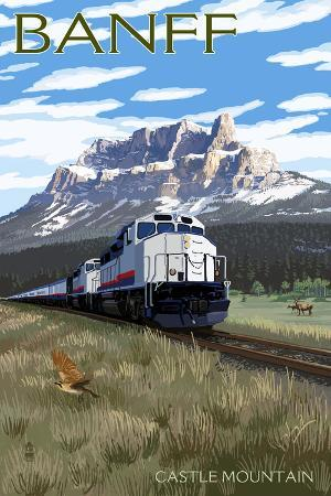 Banff, Canada - Castle Mountain Train Scene