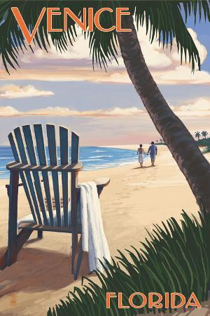 Venice, Florida - Adirondack Chair on the Beach