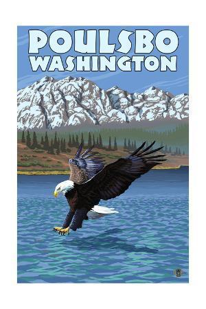 Poulsbo, Washington - Eagle Fishing