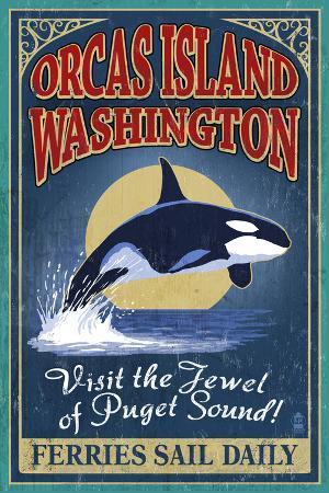 Orcas Island, WA - Orca Whale Vintage Sign