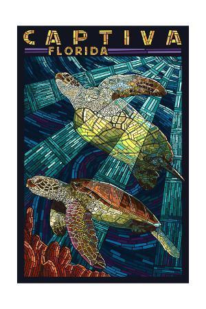Captiva, Florida - Sea Turtle Paper Mosaic