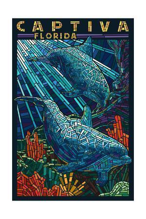 Captiva, Florida - Dolphin Paper Mosaic