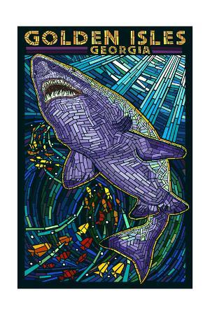 Golden Isles, Georgia - Shark Paper Mosaic