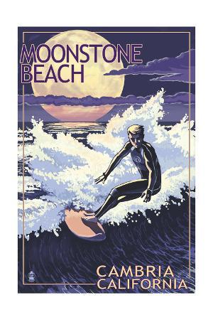 Moonstone Beach - Cambria, California - Night Surfer