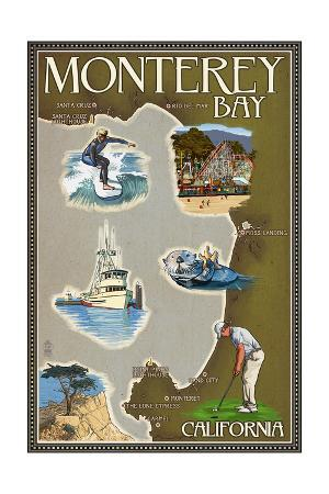 Monterey Bay, California - Map and Icons