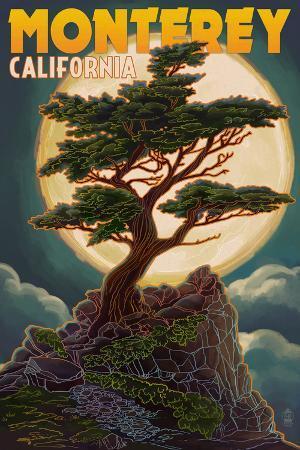 Monterey, California - Cypress and Full Moon