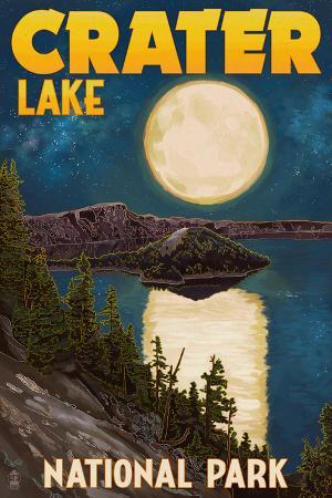 Crater Lake National Park, Oregon - Lake and Full Moon