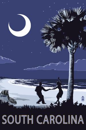 South Carolina - Palmetto Moon with Beach Dancers