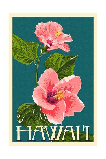Hawaii Pink Hibiscus Flower Print By Lantern Press At Allposterscom