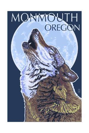 Monmouth, Oregon - Wolf Howling at Moon