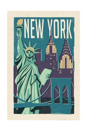 New York - Woodblock