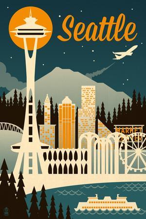 Seattle, Washington - Retro Skyline
