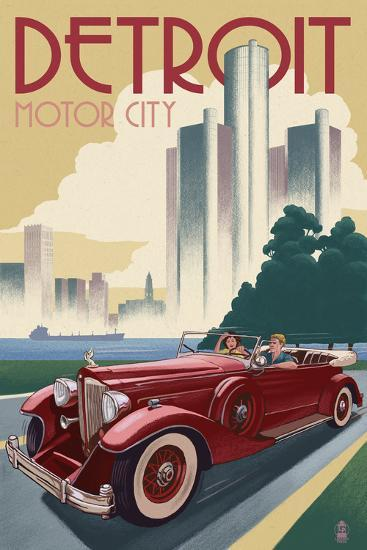 Detroit Michigan Vintage Car And Skyline Prints By