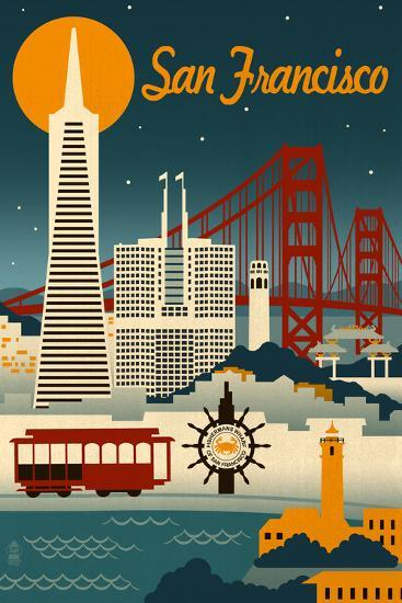 San Francisco California Retro Skyline Poster By