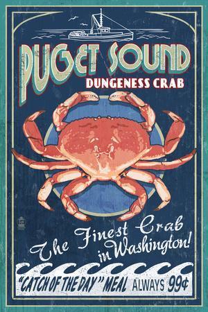 Puget Sound, Washington - Dungeness Crab Vintage Sign