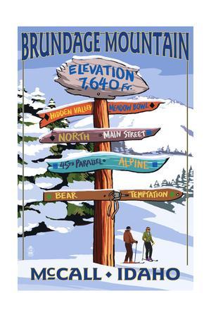 Brundage Mountain, McCall, Idaho - Ski Destination Signpost