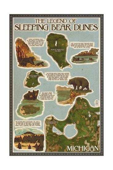 Sleeping Bear Dunes Michigan Legend Map