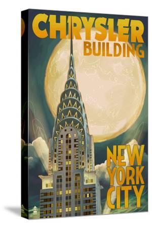 Chrysler Building and Full Moon - New York City, NY