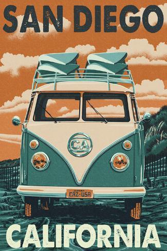 San Diego California Vw Van Poster By Lantern Press At Allposters Com