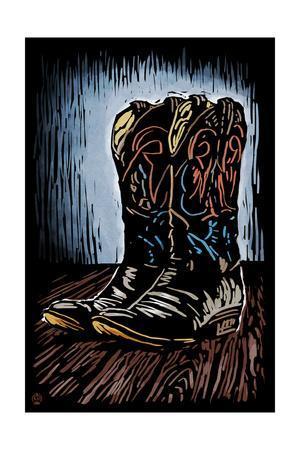 Cowboy Boots - Scratchboard