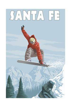 Santa Fe, New Mexico - Jumping Snowboarder
