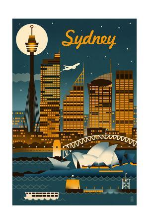 Sydney, Australia - Retro Skyline