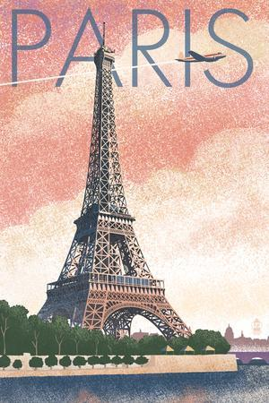Paris, France - Eiffel Tower and River - Lithograph Style