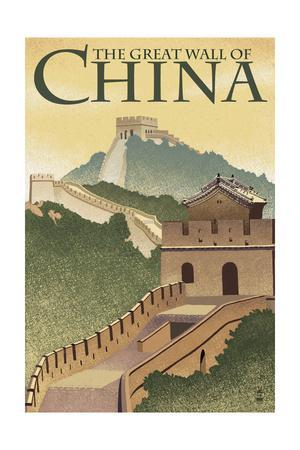 Great Wall of China - Lithograph Style