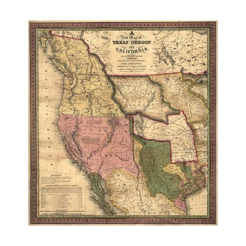 Vintage Oregon Map.Texas Oregon And California Vintage Map Prints By Lantern Press