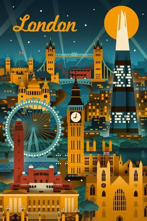 London, England - Retro Skyline