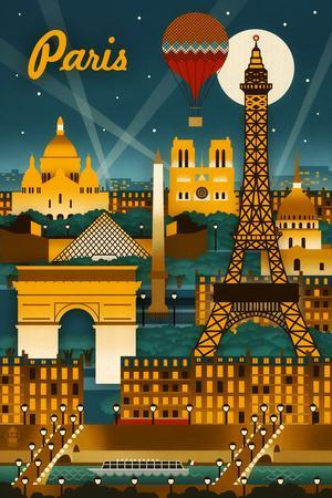 Paris, France - Retro Skyline
