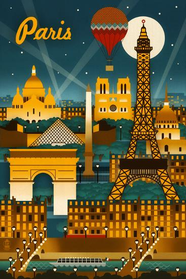 Paris France Retro Skyline Posters By Lantern Press At