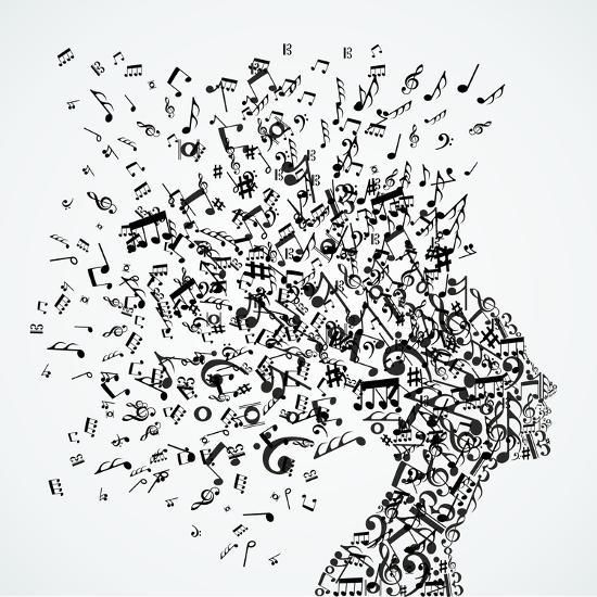Woman Head Music Notes Splash Art by cienpies at