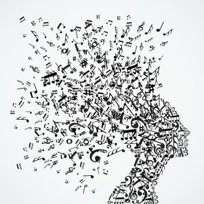 Woman Head Music Notes Splash
