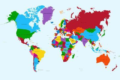 World Map   Colorful Countries Prints by cienpies at AllPosters.com