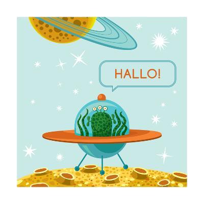 Friendly Alien in Spaceship