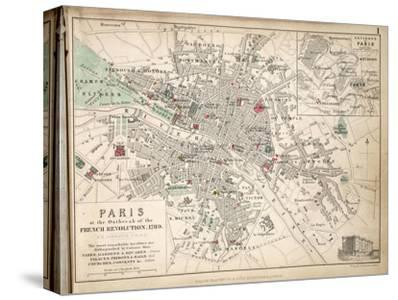 Map of Paris at the Outbreak of the French Revolution, 1789, Published by William Blackwood and?