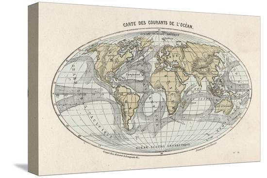 World Map With Currents.World Map Of The Ocean Currents Stretched Canvas Print At Allposters Com