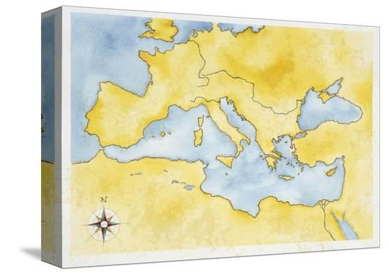 Ancient Rome, Map of Mediterranean Basin, Illustration Stretched ...