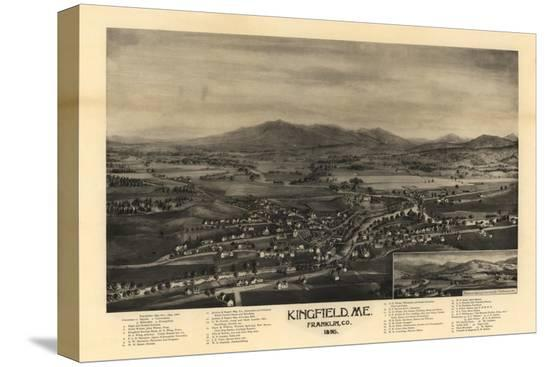 Kingfield Maine Map.Kingfield Maine Panoramic Map Stretched Canvas Print By Lantern