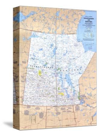 1979 Saskatchewan and Manitoba Canada Map