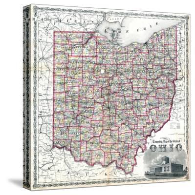 1875, Railroad Map, Ohio, United States