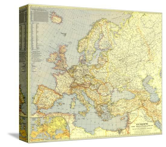 1938 Europe And The Mediterranean Map Stretched Canvas Print By